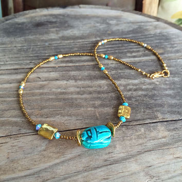 Egyptian Inspired Necklace,Scarab Beetle Choker,Turquoise & Gold Choker,Gold Choker,Cleopatra/Nefertiti Inspired Jewelry,Crystal Choker