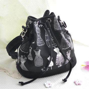 Cotton Canvas Draw String Bucket Backpack