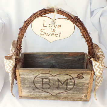 New rustic wedding centerpiece with chevron burlap ribbon for your dessert bar or sweets table- rustic, barn or vineyard wedding