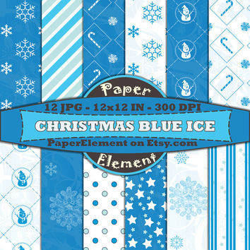 Holiday Digital Scrapbook Paper Pack in Blue - Instant Download - Patterned Paper Christmas Backgrounds