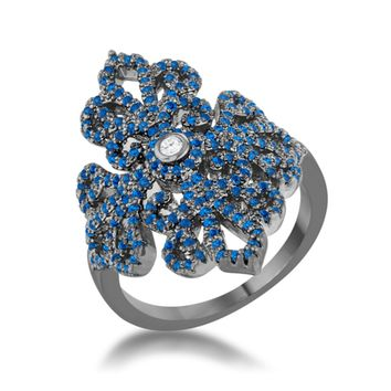 Victoria Sapphire Hematite Filigree Cocktail Ring | 2.5ct | Cubic Zirconia | Hematite