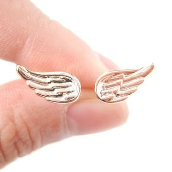 Classic Feather Shaped Angel Wing Stud Earrings in Rose Gold | DOTOLY