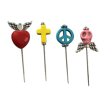 Voodoo Pins Heart Skull Angel Cross Needle