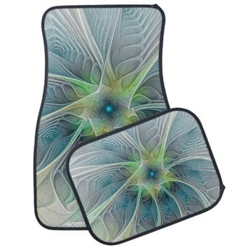 Flourish Fantasy Modern Blue Green Fractal Flower Car Floor Mat