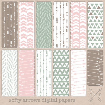 hand drawn patterns arrows chevron triangles tribal digital paper pack brown pink green. Perfect for scrapbooking graphic design backgrounds