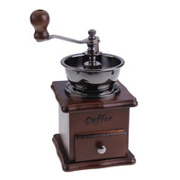 Hot Mini Manual Coffee Mill Wood Stand Bowl Antique Hand Coffee Bean Grinder Free Shipping