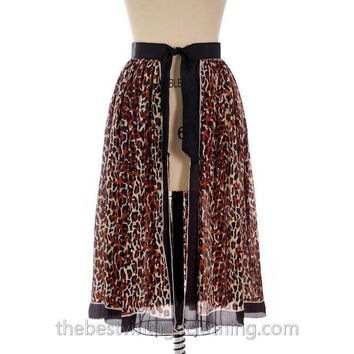 Vintage Silk Over Skirt Leopard Printed 1950s One Size