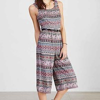 Ecote Open-Back Printed Gaucho Jumpsuit- Red