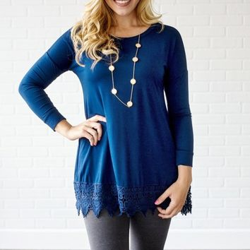 Navy-Blue-Crochet-Trim-3/4-Sleeve-Top