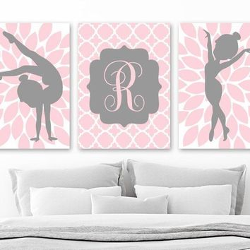 GYMNASTICS Wall Art, Pink Gray Girl Bedroom Wall Decor, GYMNASTICS Personalized Girl Gift, Pink Gray Nursery Decor, Set of 3 Canvas or Print