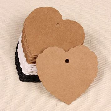 50pcs/set White Black Gray Blank Heart Shape Craft Paper Hang Tag Wedding Party Label Price Gift Cards Decoration Bookmark