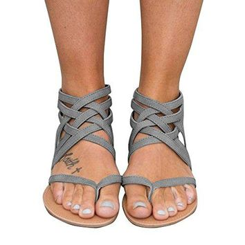 Xiakolaka Womens Cross Strap Sandals Flip Flop Ankle Buckle Gladiator Flat Shoes Grey US7.5