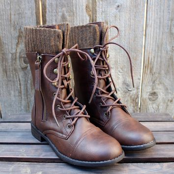 Final Sale   The Brown Combat Sweater Boots