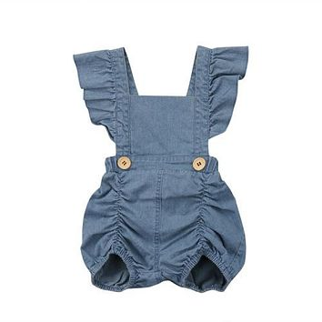 Summer Newborn Baby Girls Ruffles Romper Jumpsuit Denim Jeans Sunsuit Outfits  Baby Clothing