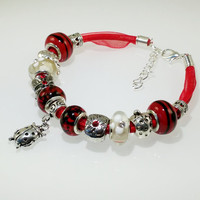 European Charm Bracelet Handmade Red Black Ladybug lampwork murano glass bead leather and ribbon with Rhinestone & Tibetan silver charms