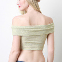 Rib Knit Off Shoulder Crop Top