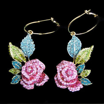 Flower Rose Dangle Earrings Multi Swarovski Crystal-Silver Rhodium Plated