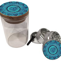 Silver Grinder and Wood Pop Top Jar Combo