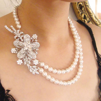 Pearl and Crystal Necklace Rhinestone Rose Necklace by luxedeluxe