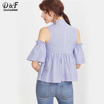 2017 Women Blouses Blue Striped Tie Neck Cold Shoulder Summer Tops Clothing New Fashion Cute Babydoll Cotton Blouse