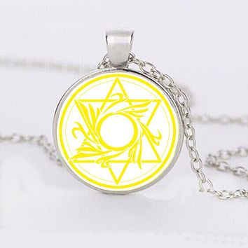 Yellow Star of David Cabochon Necklace