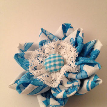 Beautiful Blue and White Flower Ponytail