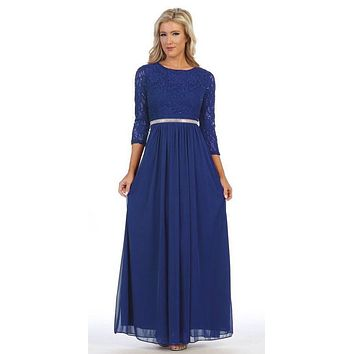 Royal Blue Three-Quarter-Sleeve Long Formal Dress A-line