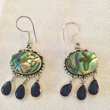 Abalone and sapphire sterling silver earrings