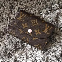 LV Louis Vuitton Trending Print Monogram Pink Buckle Canvas Key Packet PU Small Coin Purse Wallet Key Pouch I