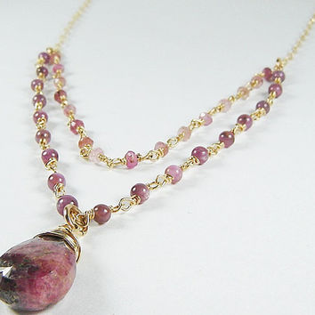 Multi Strand Natural Ruby Necklace with Faceted Tourmaline Stone, Red Ruby Necklace, 14K gold fill, Ruby Zoisite Stone Necklace