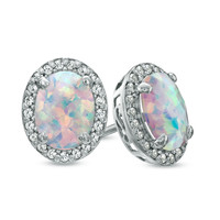 Oval Lab-Created Opal and White Sapphire Frame Stud Earrings in Sterling Silver