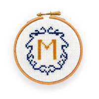 Personalized monogram hoop, embroidered initial decor, custom monogram, hand embroidery hoop art, cross stitch hoop, textile art