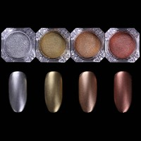 BORN PRETTY Silver Mirror Glitter Chocolate Matte Nail Glitter Powder Dust 4 Colors Manicure Nail Gel Polish Powder DIY Nail