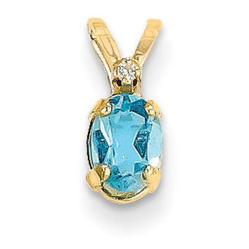 14k Diamond & Blue Topaz Birthstone Pendant XBE167