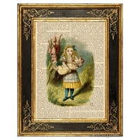 Alice in Wonderland Color Art Print, with Pig Baby