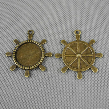 1x Supply Pendant Alloys Bronze Jewelry Findings Charms Schmuckteile Charme 4-A3074 Ship Wheel Setting Cabochon Frame