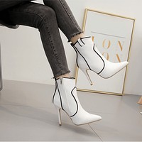 White Leather Pointed Toe Zipper Ankle Boots