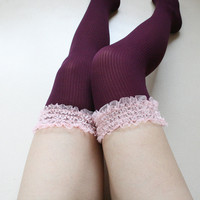Lace garter Knee high Tights Burgundy Wine