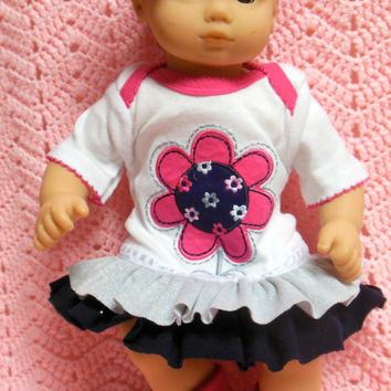 "AMERICAN GIRL Bitty Baby Clothes ""Flower Power"" (15 inch) doll outfit dress, diaper cover, socks/booties, and headband"