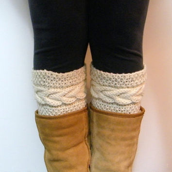 Hand Knitted Madison Cable Boot Cuffs in IVORY/CREAM