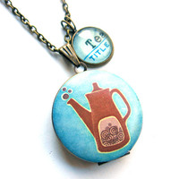 Folk Tea Kettle Locket with Blue Tea Word Mini Pendant Library Necklace