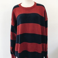VINTAGE OVERSIZE SWEATER- RED STRIPE