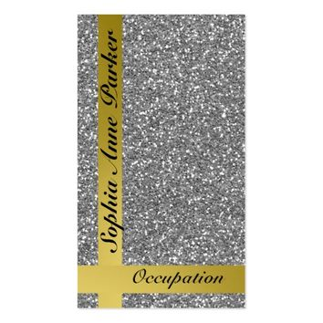 Glam Silver Faux Glitter Effect Business Card