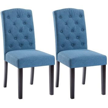 Costway Set of 2 Tufted Wood Accent Dining Chair - Blue