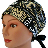 Women's Pixie Surgical Scrub Hat Cap in New Orleans Saints Squares