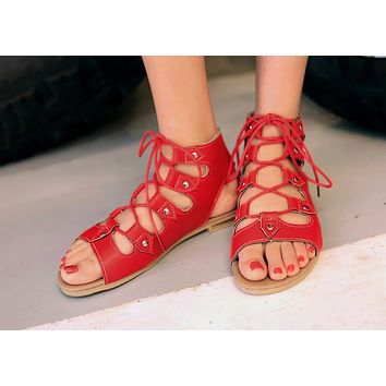 Hot Selling Flat Bottom Hollow Roman Sandals Large Size Women's Shoes