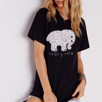 2016 Summer tshirt Ivory Ella printing short sleeves T-shirt Women Tops Tee Animal print T Shirt Loose elephant t shirt Tops&Tee