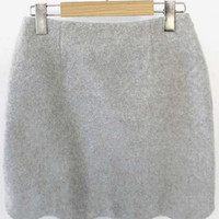 Woolen Scalloped Hem Zipper Detailed Bodycon Skirt
