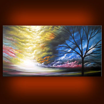 art abstract painting landscape painting abstract landscape tree cloud art large landscape art 48 x 24