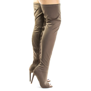 #Connely8a Taupe by Liliana, Taupe Peep Toe High Stiletto Heel, Over The Knee, Thigh High Dress Boots